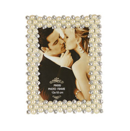 Wholesale Bamboo Picture Framing - European Pearl Diamond Resin Photo Frame Free Shipping 7 Inch Frame Furnishing Articles Square Wedding Picture Frame