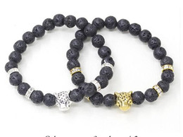 Wholesale Cheap Silver Bangles - Lava rock Beads Bracelet New Fashion Cheap Jewelry Gold Plated Lion Head or Leopard Head Bangles Black Lava Stone Buddha Beads Bracelets