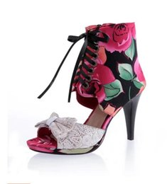 Wholesale Print Style High Heel - 2017 new Roman style High-heeled fish mouth sandals thick with lace bowknot female fish mouth shoes flower lady sandals