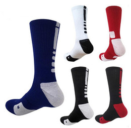 Wholesale Hot Men Sock Soccer - 2017 Hot Sale USA Professional Elite Basketball Socks Long Knee Athletic Sport Socks Men Fashion Compression Thermal Winter Socks 7 Colors