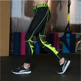 Wholesale Sales Tights Leggings - 2017 Rushed Hot Sale Solid Polyester Men Compression Leggings Mens Tights Running Sports Crossfit Gym Clothing Fitness Pants