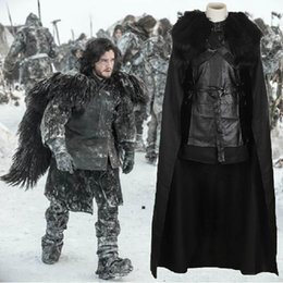 Wholesale Ice Man Costume - Game of Thrones Cosplay Costume Jon Snow Outfit A song of ice and fire Halloween Costumes For Men Women top+cloak+belt+skirt