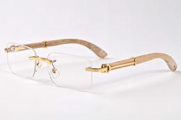 Wholesale Hot Pink Eyeglasses - 14 colors Hot selling rimless woods sunglasses Natural black buffalo horns men's glasses for women luxury glasses eyeglasses Size:55-140mm