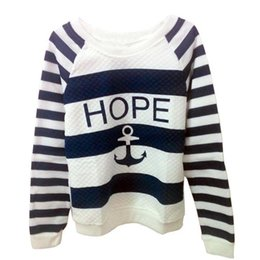 Wholesale Anchor Sweatshirt Women - Wholesale- Women Hoodies Hot Anchors Striped Causal Tracksuit Blue White Patchwork Sweatshirts Ladies Pullover Free Shipping