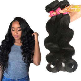 Wholesale Smooth Waves Hair - Soft And Smooth Brazilian Virgin Human Hair Extension Body Wave Grade 7A Unprocessed Brazilian Body Wave Natural Color #1B Can Be Dyed