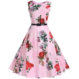 Wholesale Retro Print Dresses - Women Summer Dresses 2017 Audrey Hepburn style With Belt Floral Robe Retro Big Swing 50s 60s Vintage Rockabilly Dress Vestidos
