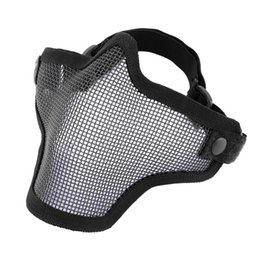 Wholesale Steel Mesh Mask - Half Lower Face Metal Steel Net Mesh Hunting Tactical Protective Airsoft Mask Gofuly free shipping