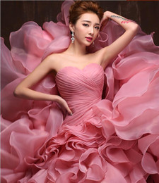 Wholesale China Bandage Dress - Real Vintage Strapless Ruched Ruffles Organza Wedding Dresses China Corset Bandage Wedding Gowns Court Train Marriage Bride Dress 2017