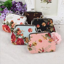 Wholesale Fresh Flower Cards - Vintage flower coin purse canvas key holder wallet hasp small gifts bag clutch handbag G