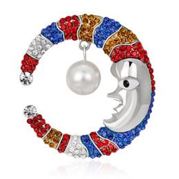 Wholesale Asian Hijab Wholesalers China - Fashion Cartoon totem Zinc Alloy Full Diamond Crystal Pearl Jewelry Moon Brooch hijab pins Gold Silver Corsage bijoux Accessory