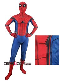 Wholesale Spandex Men Bodysuit - 2017 Spider-Man Homecoming Cosplay Costume 3D Printed Spiderman Homecoming Spandex Suit Newest Spidey Bodysuit Custom Made