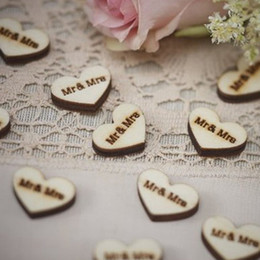 Wholesale Wooden Heart Shapes Wholesale - Love heart shaped buckle Wooden wedding shooting props Mr & Mrs Wedding decorative button Bridal garment accessories
