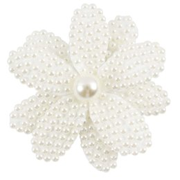 Wholesale Flower Hair Clips For Girls - 10 Pcs lot Flower Pearl Hair Bows With Clips For Baby Girls Handmade Bing Bow Children Boutique Rhinestone Accessories
