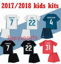 Wholesale Boys 16 - 2017 2018 kids Madrid soccer jerseys Uniforms sets youth boys child kits 16 17 Home White Purple RONALDO football shirt