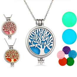 Wholesale Gold Disks - Luminous Tree of life Aromatherapy Essential Oil Diffuser Necklace Perfume Locket Pendant with Chain and 5 Felt Disk