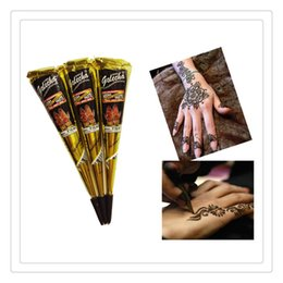 Wholesale Face Arts - New Arrivals Natural Indian Henna Tattoo Art Paste Temporary Tattoo Wedding Dress Makeup Tools DIY Temporary Drawing Body Art Free DHL