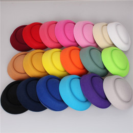 Wholesale Black Ivory Fascinator - Free shipping 19 colors 16cm fascinator hats DIY millinery hair accessories pillbox fascinator base mini top hats occasion Beanie Skull Caps