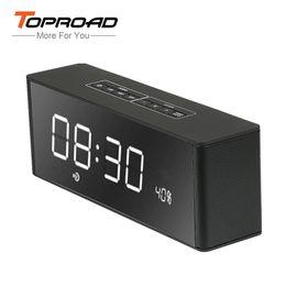 Wholesale wireless soundbar - Wholesale- Portable Bluetooth Speaker LED Alarm Clock 2200mAh Soundbar Altavoz 3D Surround Wireless Speakers Support USB TF AUX For Phone