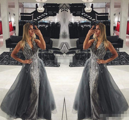 Wholesale mermaid prom dresses beauty - Elegant Gray Lace Long Evening Dresses with Detachable Train Tulle Sleeveless V-Neck Crystals 2017 Long Prom Gowns Pageant Miss Beauty Dres