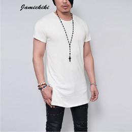 Wholesale Wholesale Plain Black T Shirts - Wholesale- 2016 Summer Men's Short Sleeve Long Style Solid Black White Gray Plain T shirt High Quality T shirts Men HipHop Tee Tops KF-21