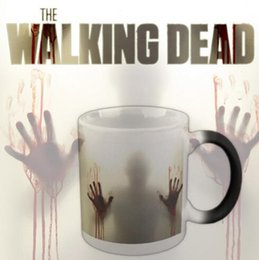 Wholesale Palms Stock - Walking Dead Mugs Color Change Cup Blood Palm Shadow Tumbler Ghastly Mug Personality Ceramic Cup Discolored Mug CCA6379 48pcs