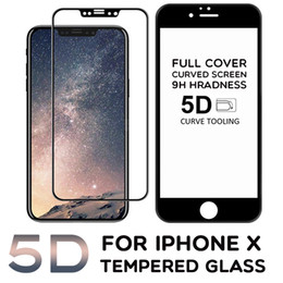 Wholesale Full Guard - For iPhone X 5D Curved Tempered Glass Full Covrage Full Cover Screen Protector Hardness Anti-Scratch Film Guard For iPhone X 8 Plus 7 6 6S