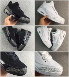 Wholesale Elephant Fabric Grey - Super Quality Retro 3 III Black White Cat Grey Elephant print Basketball shoes men 2017 Cheap College Grey 3s OKC Home Sneakers 40-46