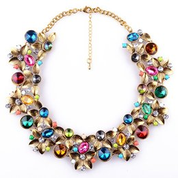 Wholesale Red Crystal Bib Necklace - Wholesale Fashion Necklaces For Women Charm Jewelry Bib Torques Crystal Statement Pendants Chokers Necklaces For Female Dress Jewelry