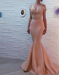 Wholesale Apricot Lace Dress - 2017 Off the Shoulder Blush Pink Mermaid Apricot Evening Dresses Cheap Mermaid Strapless Pageant Party Gowns Long Formal Vestido De Novia