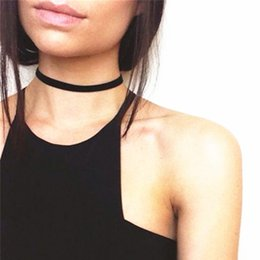Wholesale Girls Fabric Necklace - Wholesale- New fashion jewelry lace fabric black choker necklace Tattoo gift for women girl x117