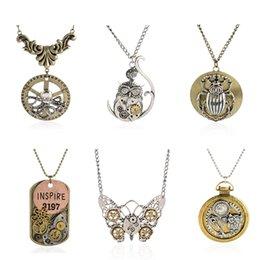 Wholesale Octopus Pendant Necklace - Vintage Steam Punk Style Personality Bronze Metal Octopus Bat Owl Key Butterfly Mechanical Wheel Pendant Necklace