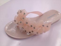 Wholesale Shining Diamond Shoes - Bohemian flip-flops Shining Imitation diamond mosaic flowers shoe upper casual fashion beach sandals the material PVC