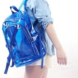 Wholesale Transparent Pvc Fashion Girls - Wholesale- Transparent Clear Plastic Waterproof Backpack for Teenage Girls PVC School Bags Shoulders Bag