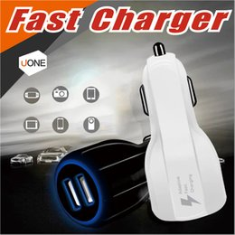 Wholesale Qualcomm Phones - For Samsung Galaxy S8 Iphone QC3.0 fast charge 3.1A Qualcomm Quick Charge car charger Dual USB phone charger with opp package