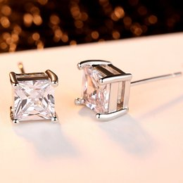 Wholesale Gold Diamond Cut Earrings Stud - Princess Square Cut Clear Real White Diamond Solid CZ Silver Stainless Steel Setting Stud Earrings Pair