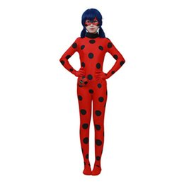 Wholesale Kids Catsuit - Ladybug Girl Spandex Full Lycra Zentai Suit Kids Zip The Miraculous Ladybug Cosplay Costume Halloween Girls Ladybug Marinette