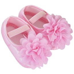 Wholesale Autum Girl - Wholesale- 2017 Spring and autum Toddler Baby Girl Elastic Band Newborn Walking Shoes Solid Pink Red Purple Chiffon Flower first walkers