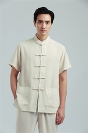 chinese tai chi ternos Desconto Xangai História de Manga Curta roupas tradicionais chinesas para homens camisa de linho homens tai chi camisa tang terno kungfu Camisa hanfu