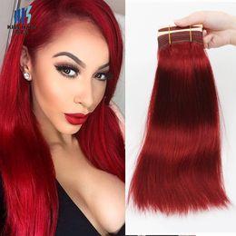 2019 teinté des cheveux humains en couleur rouge 300g Bundles De Cheveux Remy Couleur Coucher De Soleil Rouge Bundles Soie Droite Corps Vague Qualité Brésilienne Cheveux Humains Weave Bundles promotion teinté des cheveux humains en couleur rouge