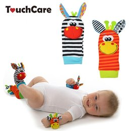 Wholesale Soft Rattle Socks - SOZZY Baby Toy Baby Rattles Toys Animal Socks Wrist Strap With Rattle Baby Foot Socks Bug Wrist Strap