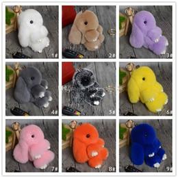 Wholesale Toy Car Backpack - Hot rabbit pendant Rex Rabbit Key chain mix Colors Fur Car Backpack Rabbit Doll Pendant Cute Fashion Toys Wallet Handbag Pendant