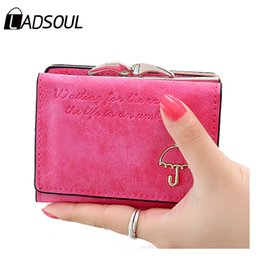 Wholesale Blue Umbrella Short - Wholesale- LADSOUL Fashion Leather Women Wallets Letter Pattern Nubuck Lovely Umbrella Short Wallet Card Holder Coin Purse Hot lm3217 h