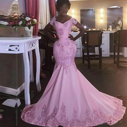 Wholesale Nude Ladies Art - African Lady Elegant Pink Beaded Satin Mermaid Evening Dresses Applique Women's Special Occasion Party Dress Customize Prom Gown