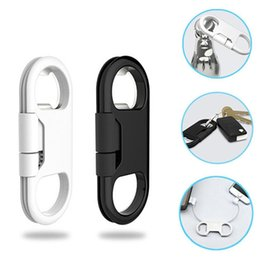 Wholesale Multifunction Usb Charging Cable - Multifunction Mini Portable Metal Keychain Micro USB Fast Charger Charging Sync Data Cable Cord Support Beer Bottle Opener Charging Lines