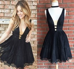 Wholesale Tiered Cocktail Dresses Pleats - Black Lace Short Homecoming Dresses Deep V Neck Sleeveless Beaded Backless Short Prom Dresses Lace Cocktail Party Dresses