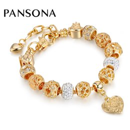 Wholesale Charms For Bracelets Sold Wholesale - Hot Selling 2017 Heart Charm Bracelets & Bangles Gold Chain Bracelets For Women DIY Pulseira Feminina Jewelry AA148