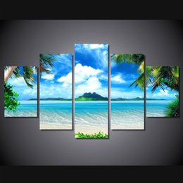 Wholesale Canvas Art Blue Tree - 5 Pcs Set Framed HD Printed Beach Blue Sky Palm Trees Picture Wall Art Canvas Print Room Decor Poster Canvas Modern Oil Painting