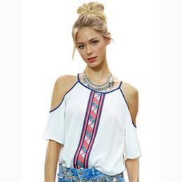 Wholesale Ladies Bohemian Shirt - Women White Chiffon Blouses Ladies Printed Off Shoulder Bohemian Shirts Tops Camisas Female Plus Size Women Clothing Shirt S-XL WT32622