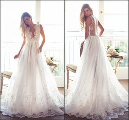 Wholesale Rustic Lace - Romantic Summer Sexy Wedding Dresses 2017 Plunging V Neck Illusion Back with Lace Appliques A Line Rustic Vestido De Novia Boho Bridal Gowns