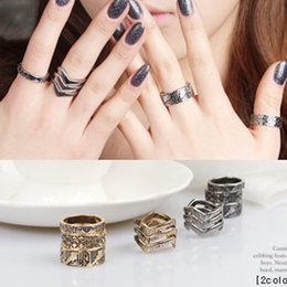 Wholesale Mysterious Rings - 6pcs Set Vintage V + Mysterious Symbols Design Knuckle Rings Antique Silver Boho Finger Rings For Weomen Wedding Party Ring
